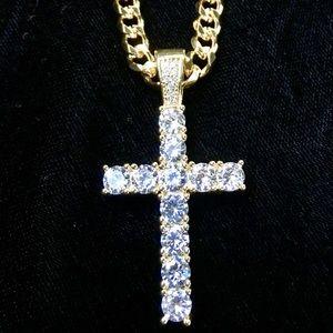 CROSS PENDANT FULL DIAMONDS cz 18K GOLD CHAIN